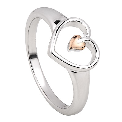 Clogau Silver & Rose Gold Tree of Life Heart Ring
