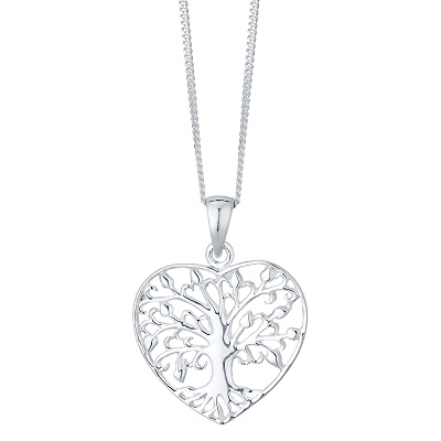 Sterling Silver Tree Of Life Design Heart Pendant