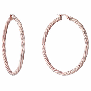 9ct Rose Gold 40mm Twisted Creoles