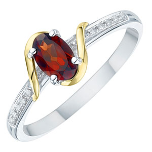 Sterling Silver & 9ct Gold Diamond & Garnet Ring