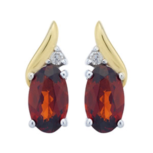 Sterling Silver & 9ct Gold Diamond & Garnet Earrings
