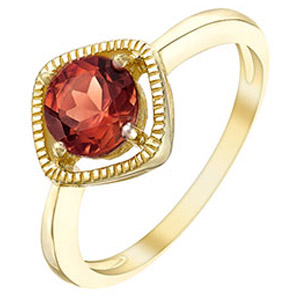 9ct Gold Garnet Milgrain Detail Ring