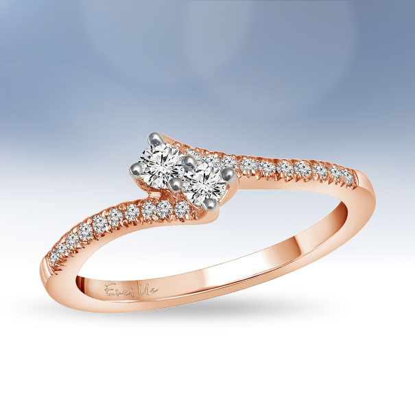 14ct Rose Gold Diamond Two Stone Twist Rings