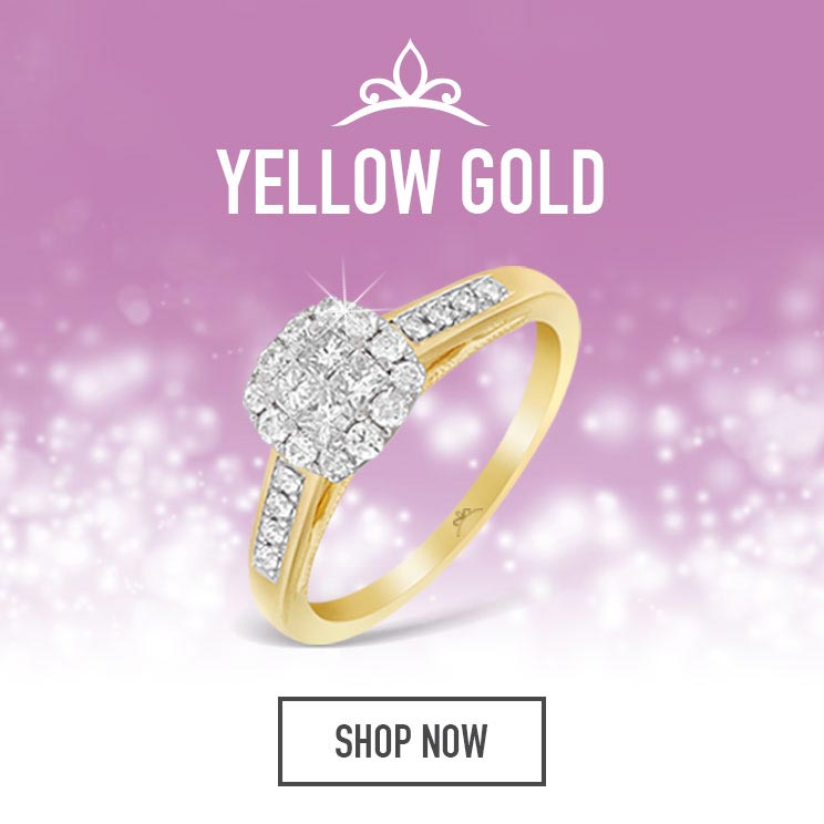 Yellow Gold Princessa Diamond Rings - Shop Now