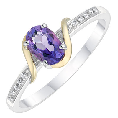 Sterling Silver & 9ct Gold Diamond & Amethyst Ring