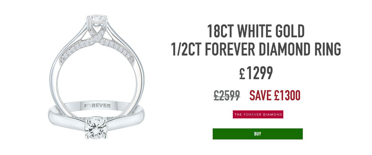 18ct White Gold 1/2ct Forever Diamond Ring, now £1299, was £2599, 5114802