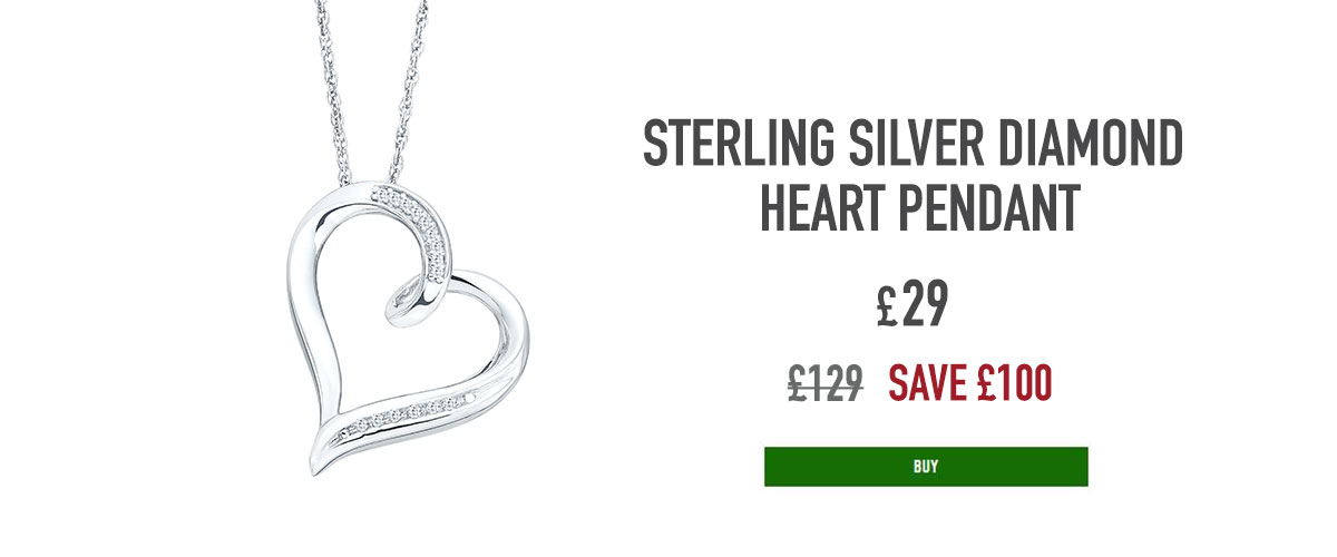Sterling Silver Diamond Heart Pendant, now £29, was £129, 9999000