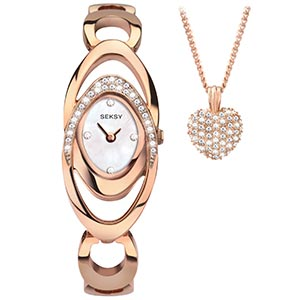 Seksy Ladies' Rose Tone Bracelet Watch & Pendant Set