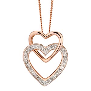 9ct Rose Gold Diamond Set Double Heart Pendant