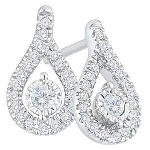9ct White Gold 1/3ct Diamond Earrings & Pendant Set