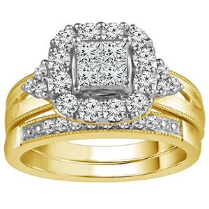 9ct Gold 1 Carat Diamond Perfect Fit Bridal Set