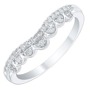 Ladies' 9ct White Gold 0.12 Carat Fancy Shaped Band