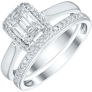 9ct White Gold 1/3ct Diamond Perfect Fit Bridal Set