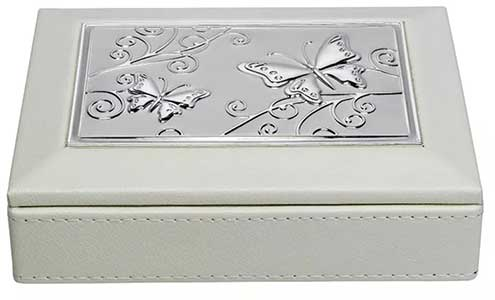 Cream Aluminium Inlay Jewellery Box