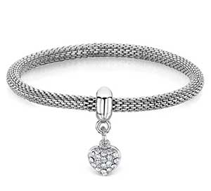 Buckley London Rhodium-Plated Stone Set Heart Charm Bracelet