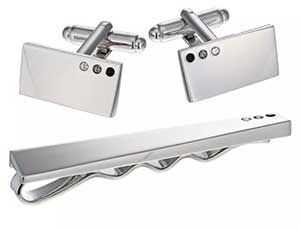 Rhodium Crystal Set Tie Clip & Cufflinks Set