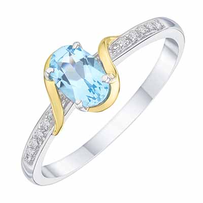 Sterling Silver & 9ct Yellow Gold Blue Topaz Ring