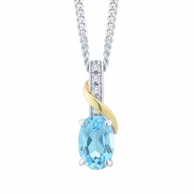 Sterling Silver & 9ct Yellow Gold Blue Topaz Pendant