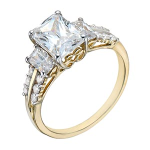 9ct Gold Three Stone Cubic Zirconia & Shoulder Set Ring