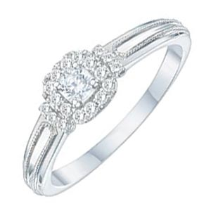 9ct White Gold 1/5ct Diamond Solitaire Ring