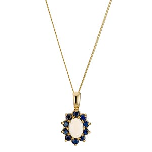 19ct Yellow Gold Sapphire Opal Pendant