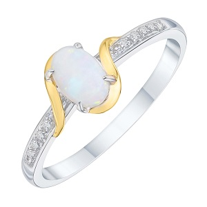Sterling Silver & 9ct Gold Opal & Diamond Ring