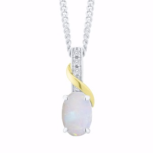 Sterling Silver & 9ct Gold Opal & Diamond Pendant