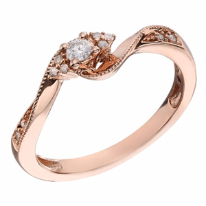 Cherished 9ct Rose Gold And Diamond Twist Solitaire Ring