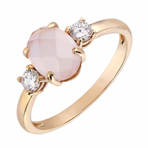 9ct Rose Gold Oval Rose Quartz & Cubic Zirconia Ring