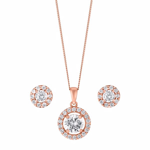 9ct Rose Gold & Cubic Zirconia Halo Earring & Pendant Set