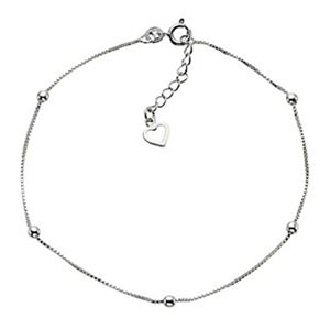 Sterling Silver 9 Ball & Heart Anklet