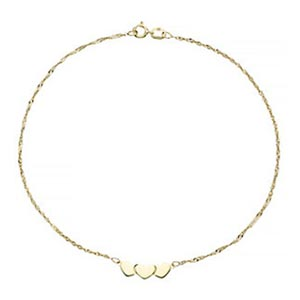 9ct Yellow Gold Heart Anklet