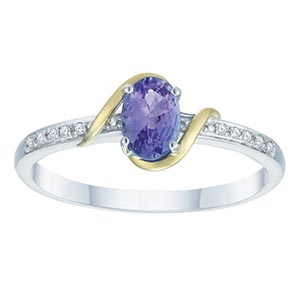 Sterling Silver & 9ct Gold Diamond & Tanzanite Ring