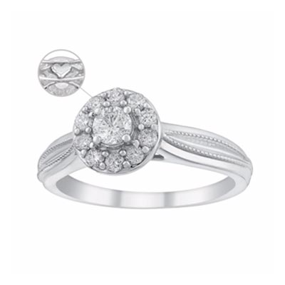 9ct White Gold 2/5 Carat Diamond Round Halo Ring
