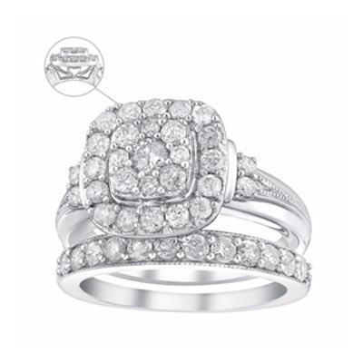 Perfect Fit 9ct White Gold 1.25 Carat Diamond Bridal Set