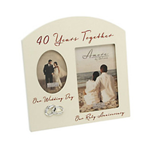 Special Memories 40th Anniversary Double Photo Frame
