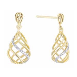 9ct Gold Diamond Set Pear Shaped Drop Earrings