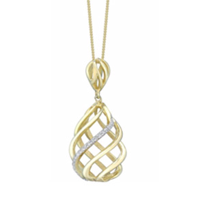 9ct Gold Diamond Set 3D Swirl Pendant