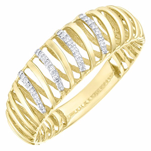 9ct Gold Diamond Set 3D Twist Ring