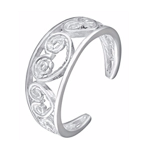 Sterling Silver Cut Away Heart Detail Toe Ring