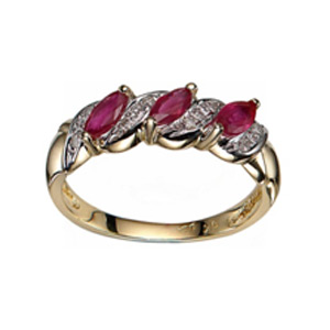 9ct Yellow Gold Ruby And Diamond Ring