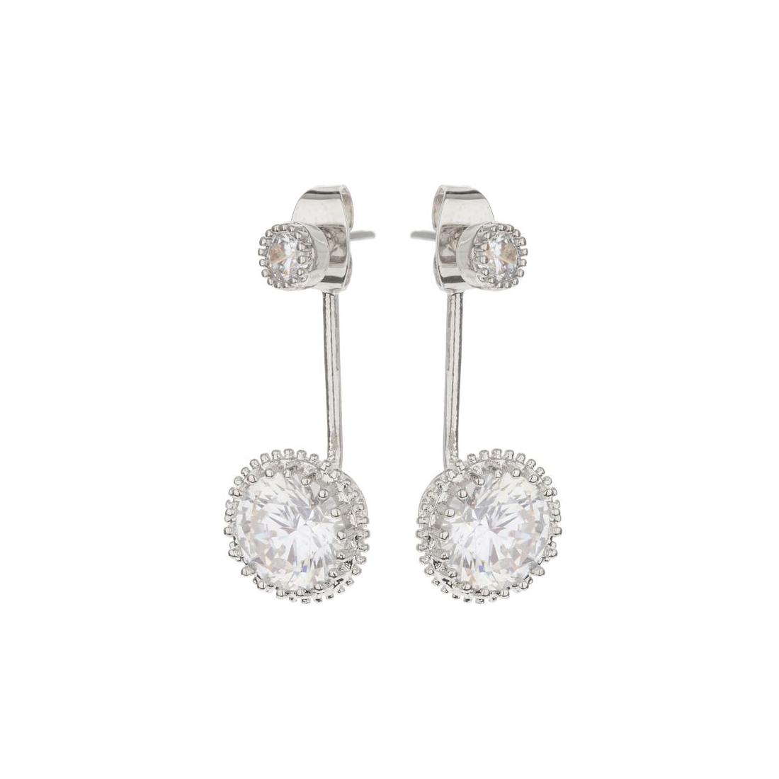 Mikey Silver Tone Round Clear Crystal Ear Jackets