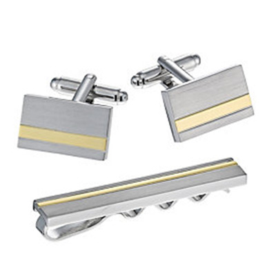 Gold-Plated Striped Tie Bar & Rectangular Cufflinks