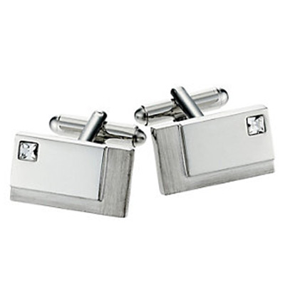 Rectangular Brush/Polished Crystal Cufflinks