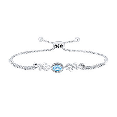 Open Hearts Silver Blue Topaz & Diamond Bolo Bracelet