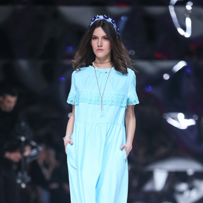 Blue Dress on the Catwalk