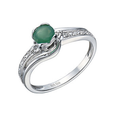 Sterling Silver Rhodium Plated Emerald & Diamond Ring