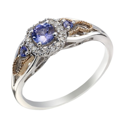 Silver & 9ct Rose Gold Diamond and Tanzanite Cluster Ring