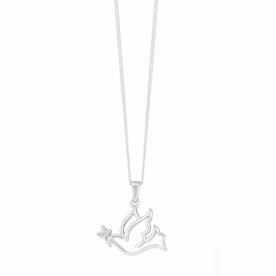 Sterling Silver & Cubic Zirconia Bird Pendant