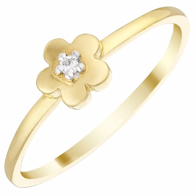 9ct Gold Cubic Zirconia Flower Ring